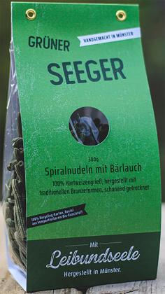 Leibundseele Grüner Seeger - Spiralnudeln aus Hartweizengrieß und Bärlauch 300g